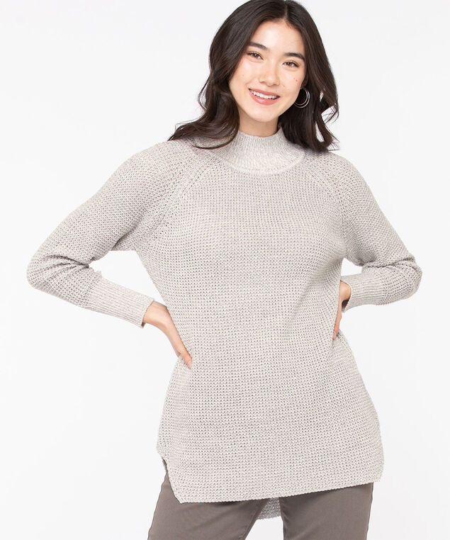 Mock Neck Tunic Sweater, Light Grey Mix, hi-res