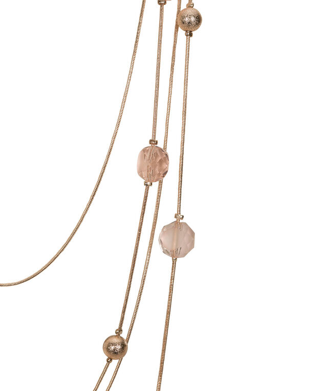 Stationed Bead Multi-Strand Necklace Set, Pastel Pink/Rose Gold, hi-res