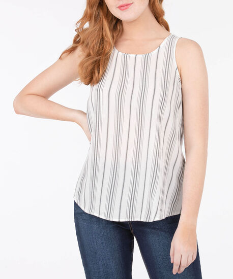 Sleeveless Open Bow Back Blouse, Pearl/Grey, hi-res