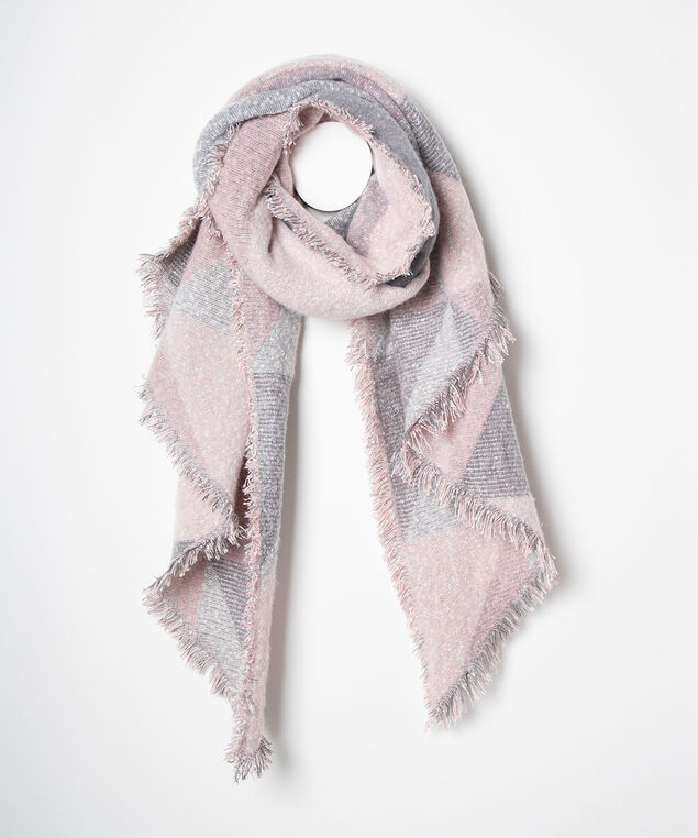 Colourblock Angled Blanket Scarf, Pearl/Dusty Blush/Grey, hi-res