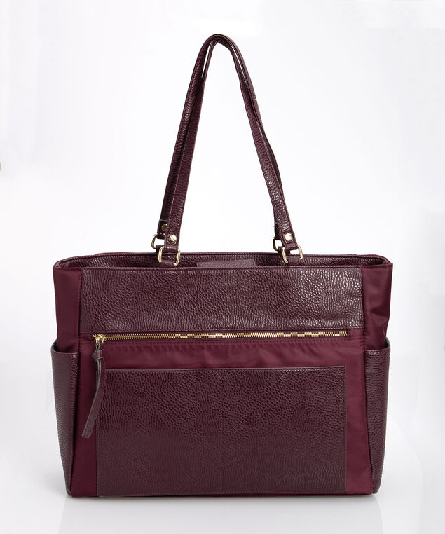 Laptop Tote Bag, Plum/Gold, hi-res