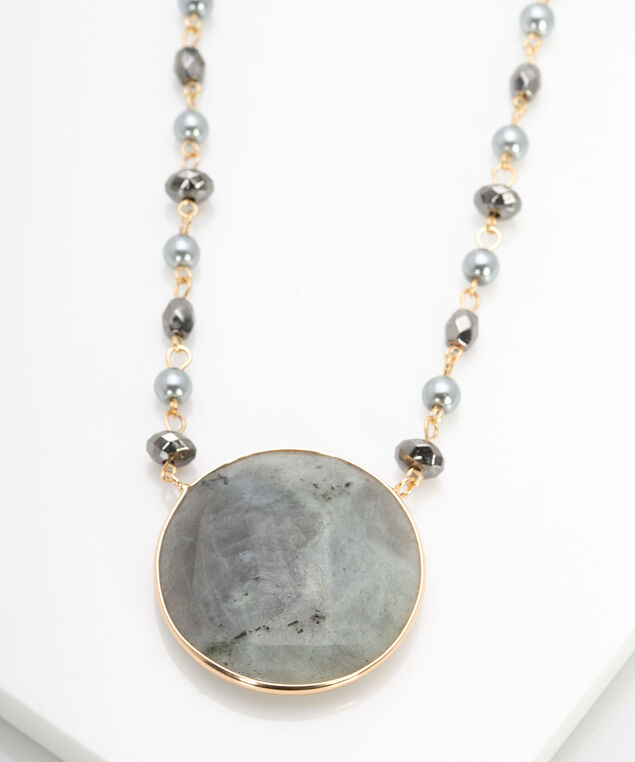 Natural Stone Pendant Statement Necklace, Grey/Cool Mint/Hematite, hi-res
