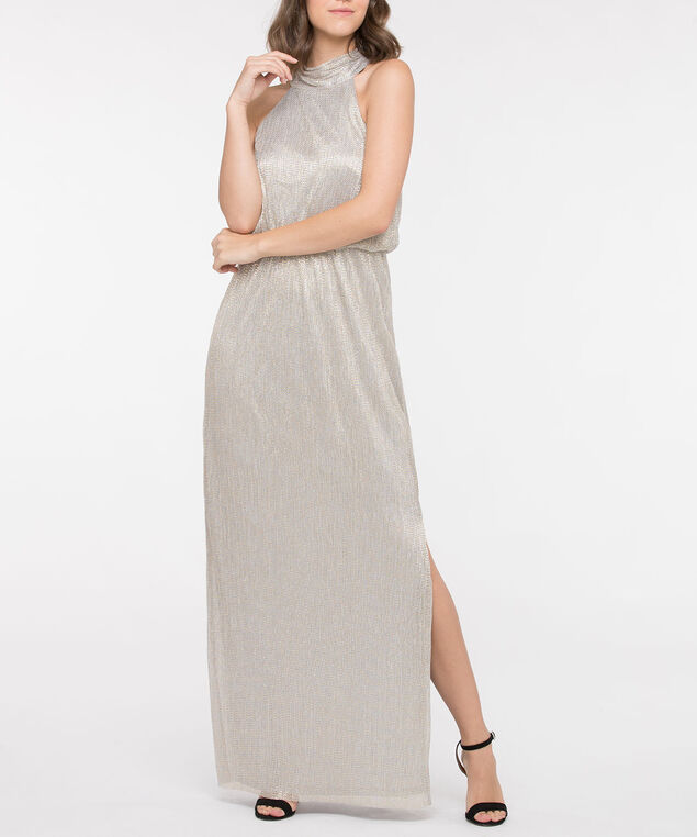 Halter Neck Side Slit Maxi Dress, Silver/Gold, hi-res