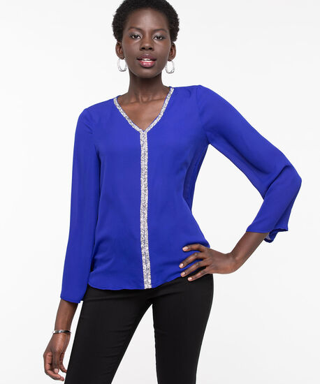 Long Sleeve Sparkle Trim Blouse, Blue, hi-res