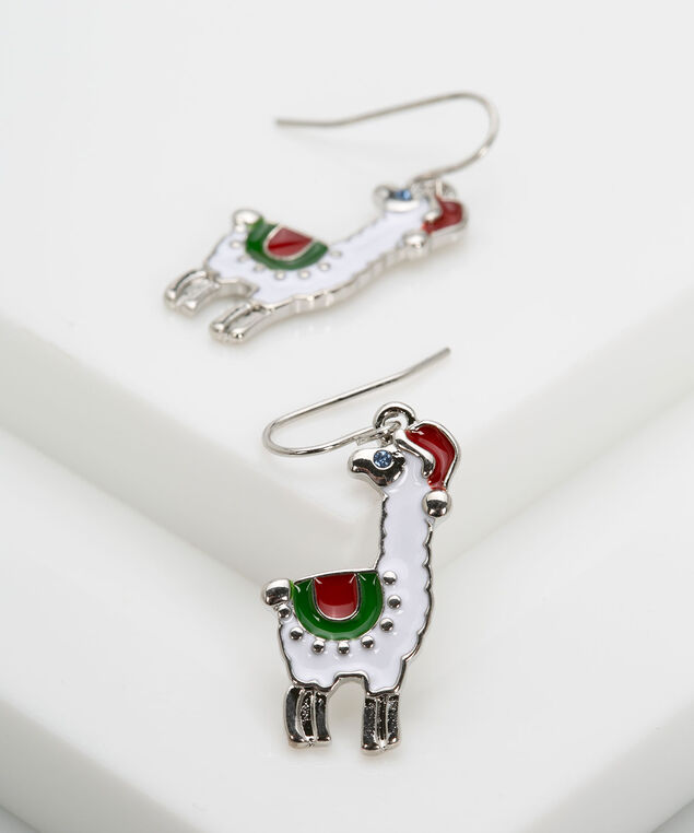 Holiday Llama Earring, Crimson/Rhodium, hi-res