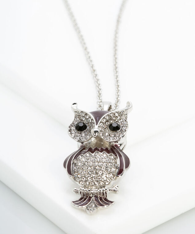 Painted Crystal Owl Pendant Necklace, Rhodium/Black/Fig, hi-res