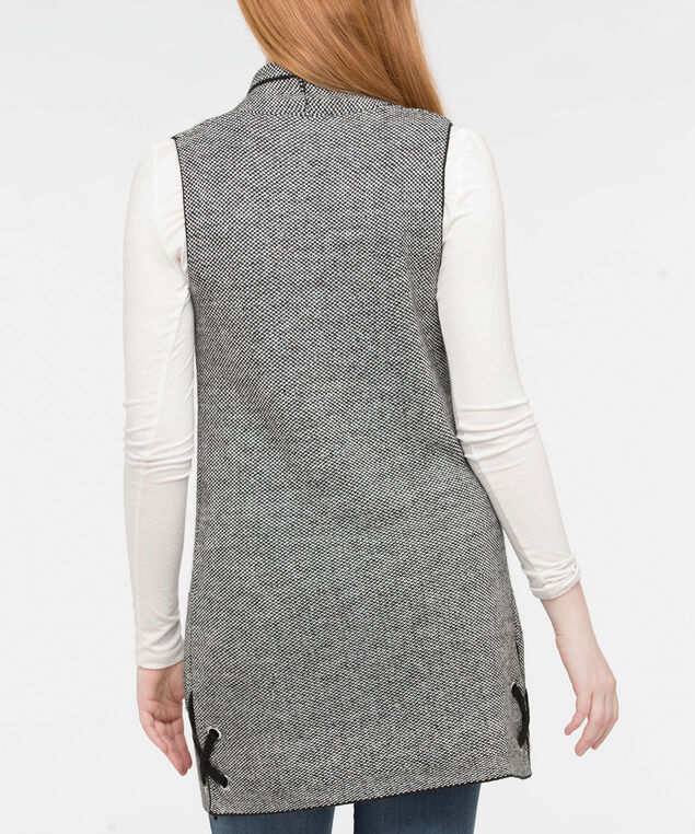 Lace Up Open Sweater Vest, Black Mix, hi-res