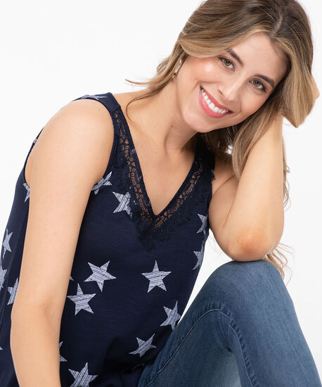 Lace Trim Sleeveless V-Neck Top, Summer Navy/Pearl, hi-res