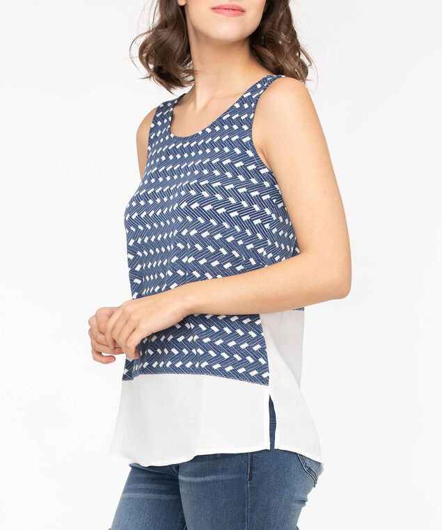 Sleeveless Fooler Hem Top, Midnight Blue/Pearl, hi-res