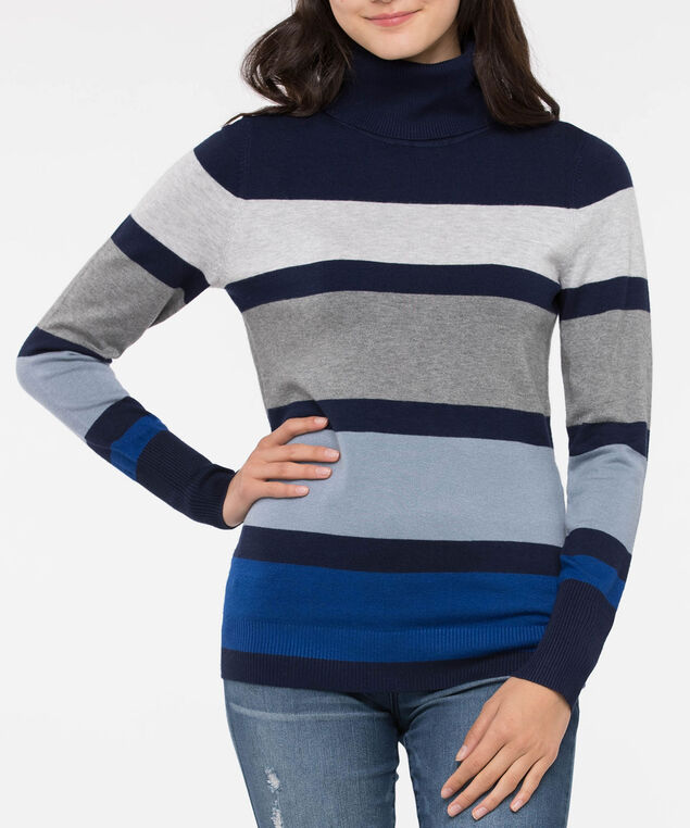 Long Sleeve Turtleneck Sweater, Deep Sapphire/Dusty Blue/Grey, hi-res