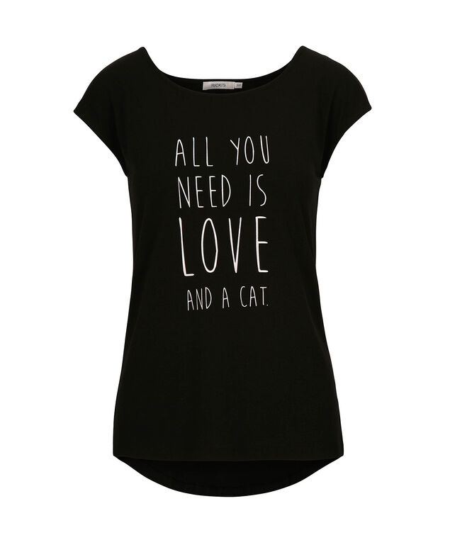 Cat Love Scoop Neck Tee, Black/White, hi-res