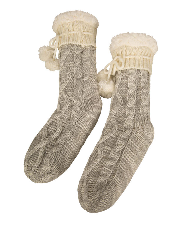 Chunky Knit Reading Socks, Grey/White, hi-res