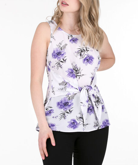 Tie-Front Sleeveless Blouse, Iced Violet/Pearl, hi-res