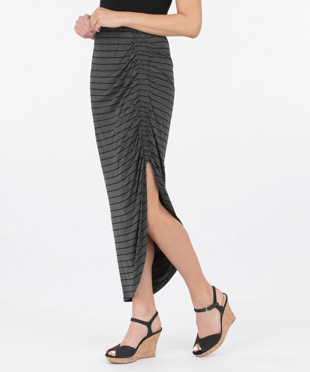 Ruched Side Slit Maxi Skirt - Striped, Grey/Black, hi-res