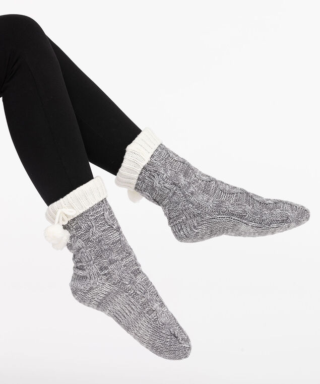 Chunky Knit Reading Socks, Mid Heathered Grey/Pearl, hi-res
