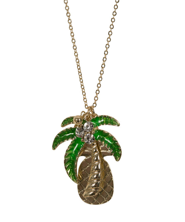 Pineapple & Palm Tree Necklace, Green/Clear/Soft Gold, hi-res
