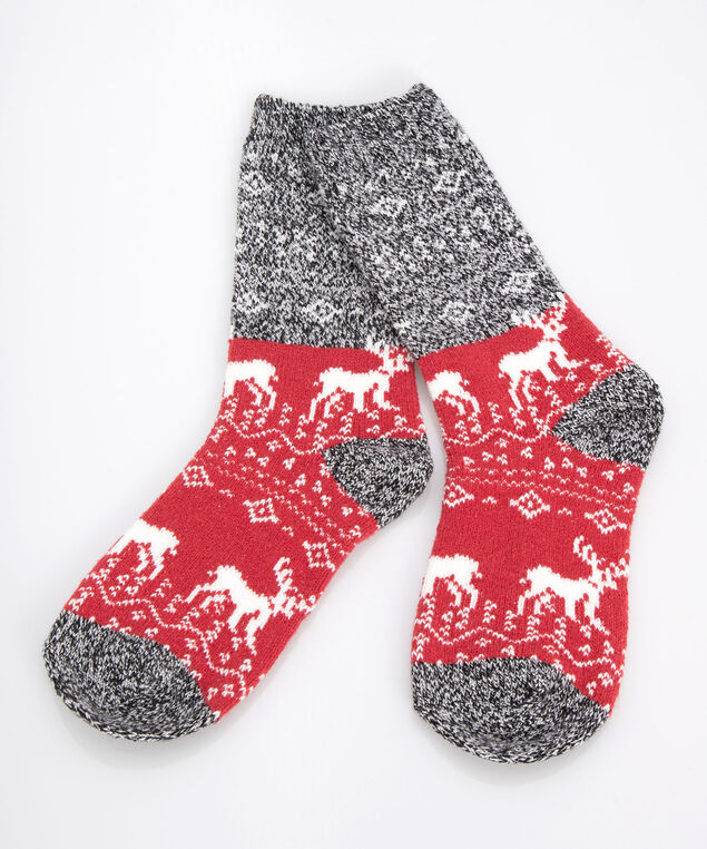 Fairisle Cabin Socks, Crimson/Mid Heathered Grey/Pearl, hi-res