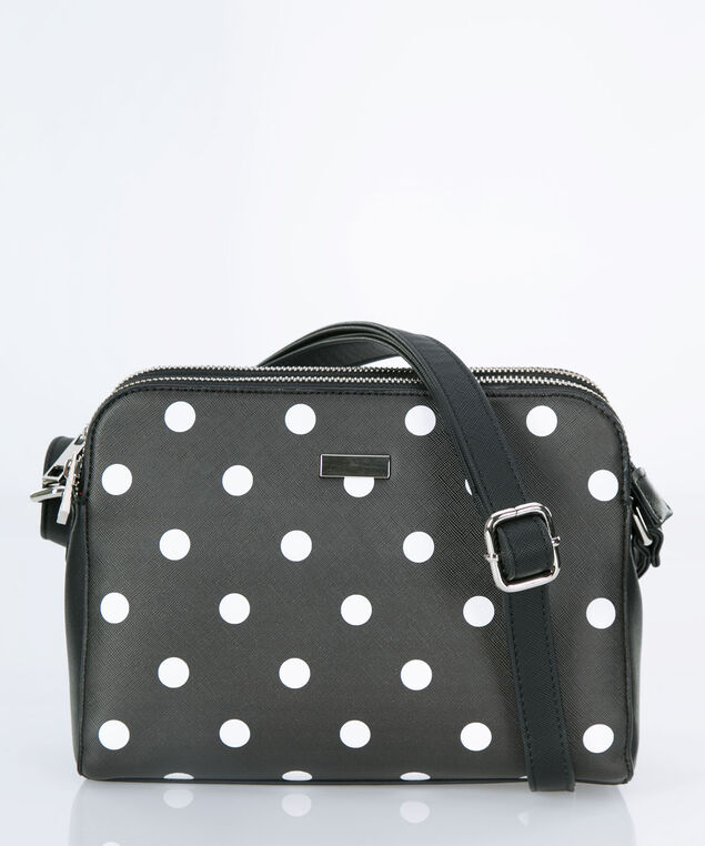 Polka Dot Crossbody Box Bag, Black/White/Nickel, hi-res
