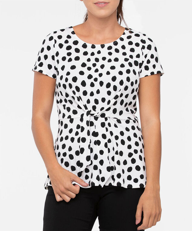 Short Sleeve Tie-Front Peplum Top, Pearl/Black, hi-res