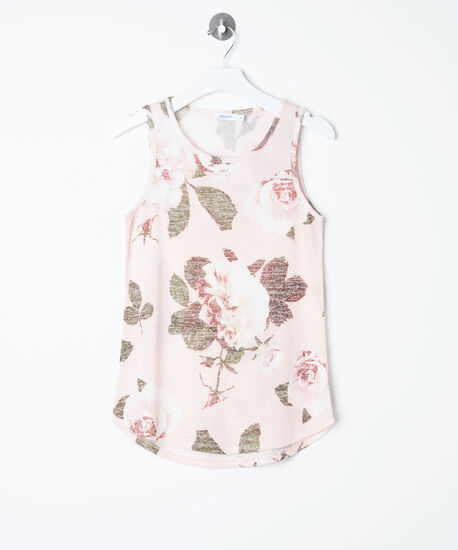 Sleeveless Floral Lightweight Knit Top, Blossom/Pearl/Basil, hi-res