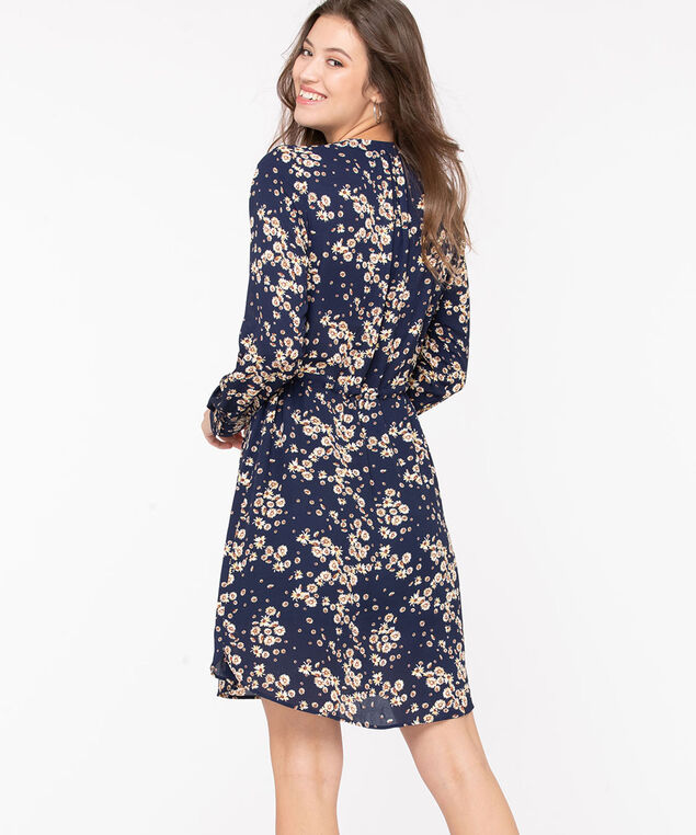 Floral Button Front Shirt Dress, Navy/Gold/Ivory