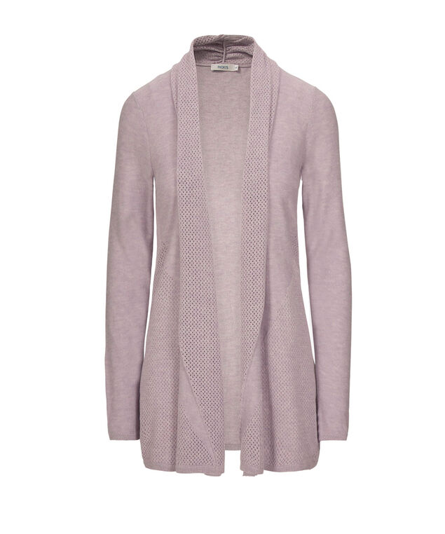 Drape Front Open Cardigan, Iced Violet, hi-res