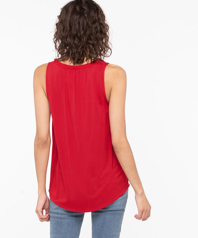 Sleeveless Mixed Media Henley Top, Hibiscus, hi-res