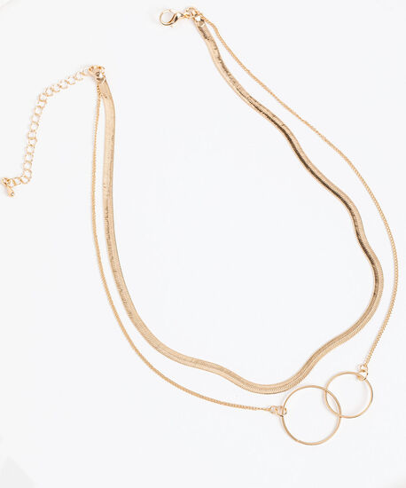 Snake Chain & Double Ring Layered Necklace, Gold, hi-res