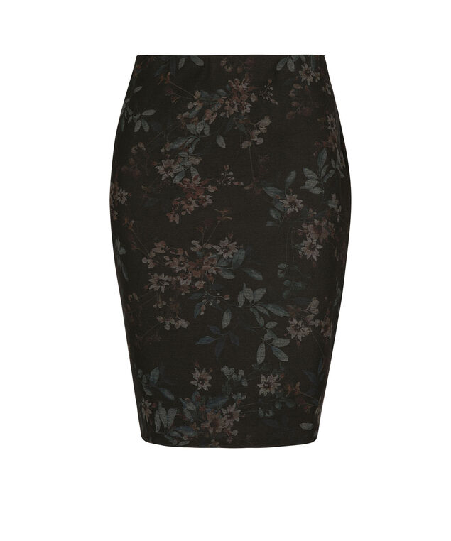 Floral Ponte Pencil Skirt, Black/Port/Blue, hi-res