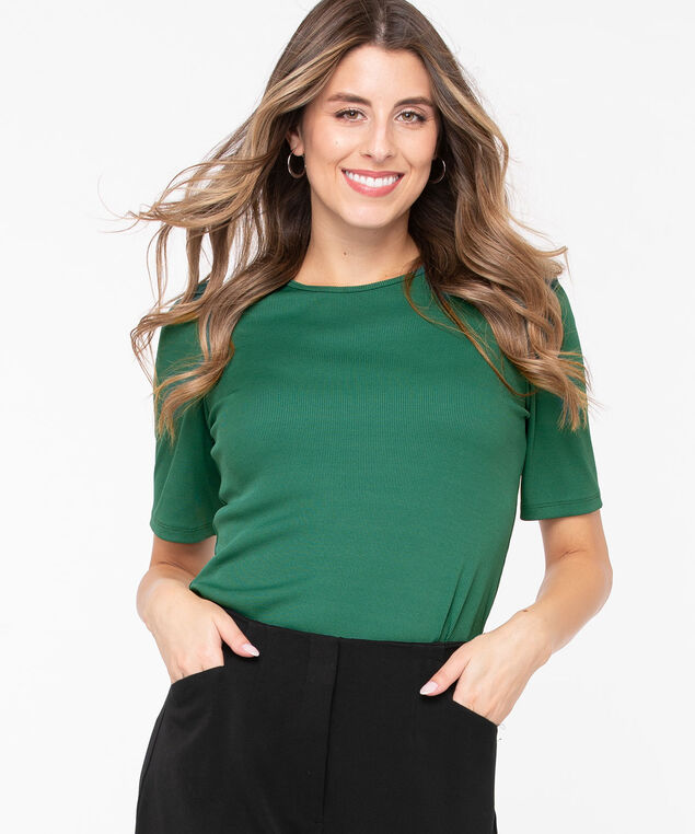 Puff Sleeve Rib Knit Top, Cypress, hi-res