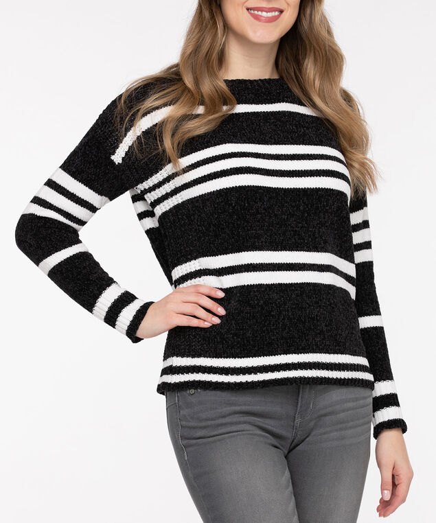 Striped Chenille Sweater, Black/Pearl, hi-res
