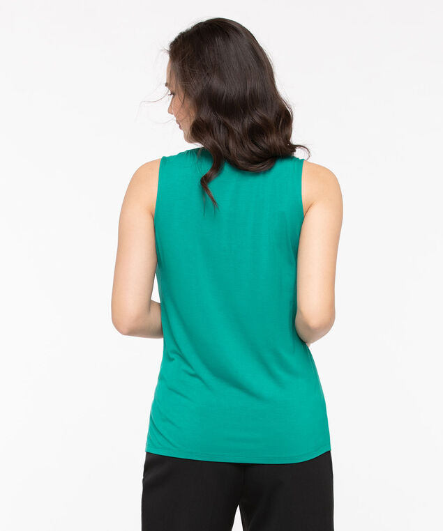 Sleeveless Mixed Media Zipper Top, Jade, hi-res