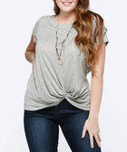 Short Sleeve Knot Front Top, Light Heather Grey, hi-res