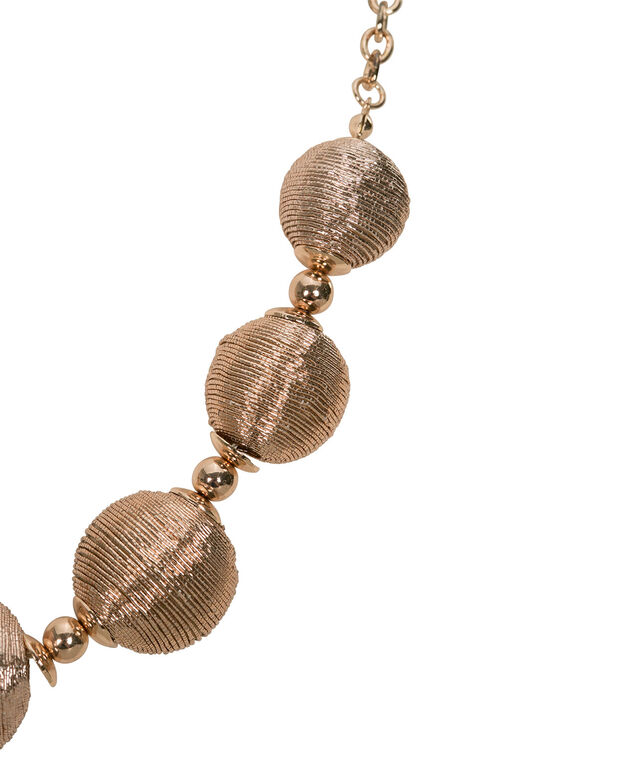 Thread-Wrapped Ball Statement Necklace, Rose Gold, hi-res
