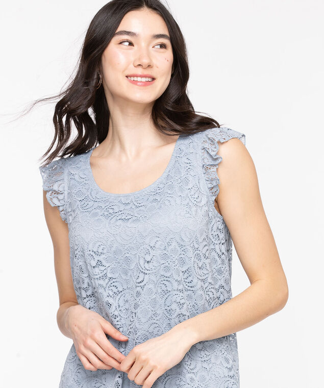 Lace Ruffle Sleeve Top, Dusty Blue