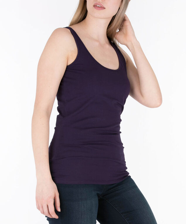 Scoop Neck Cami, Deep Purple, hi-res