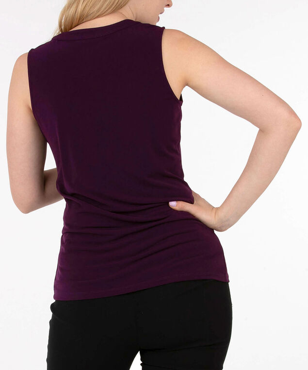 Sleeveless Button Front Henley Top, Plum, hi-res