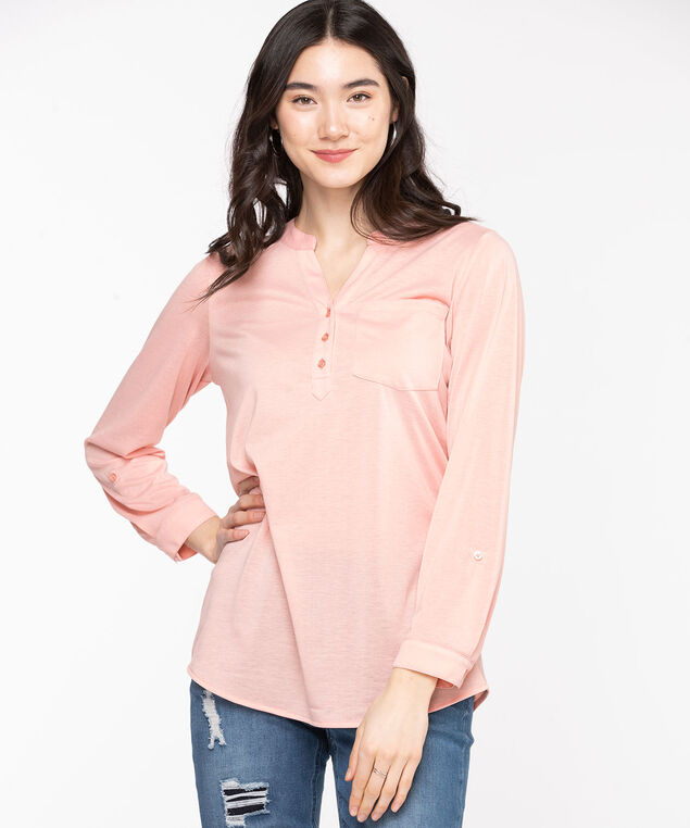 Henley Roll Sleeve Tunic Top, Rose Smoke