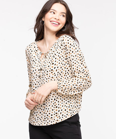 Patterned Peasant Style Top, Ivory Animal Print, hi-res