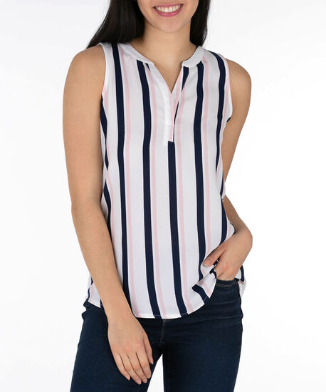 Sleeveless Henley Top, Summer Navy/White/Pink, hi-res