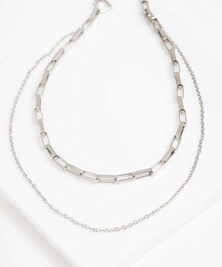 Chain Link Double Layer Necklace, Silver, hi-res
