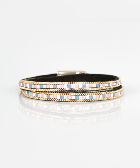Faux Leather & Chain Wrap Bracelet, Gold/Pearl/Dusty Pink, hi-res