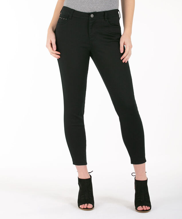 Studded Pocket Crop Pant, Black, hi-res