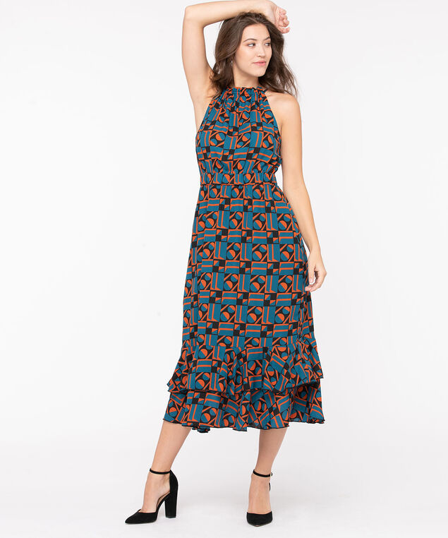 Halter Neck Flounce Hem Dress, Teal/Terra Cotta/Black