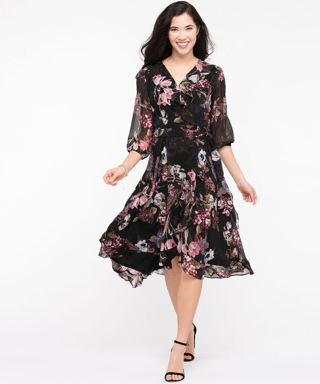 Floral Midi High/Low Wrap Dress, Black/Blush/Moss, hi-res