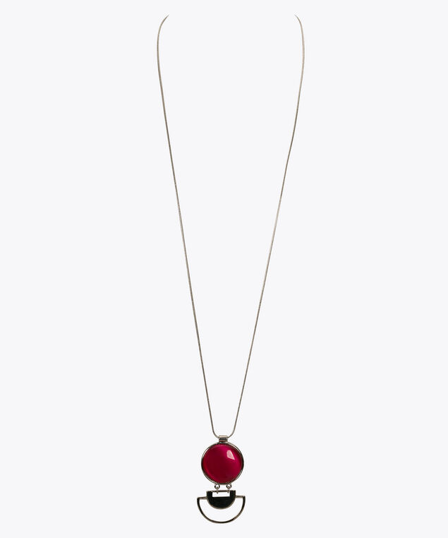 Cateye Stone Geo Pendant Necklace, Hot Pink/Rhodium, hi-res