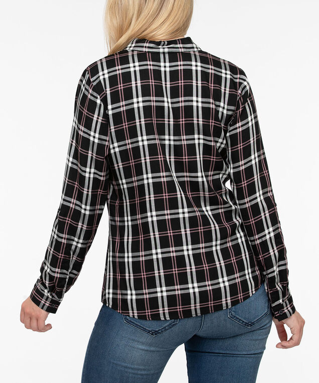 Plaid Button Front Blouse, Black/Petal Pink/Pearl, hi-res