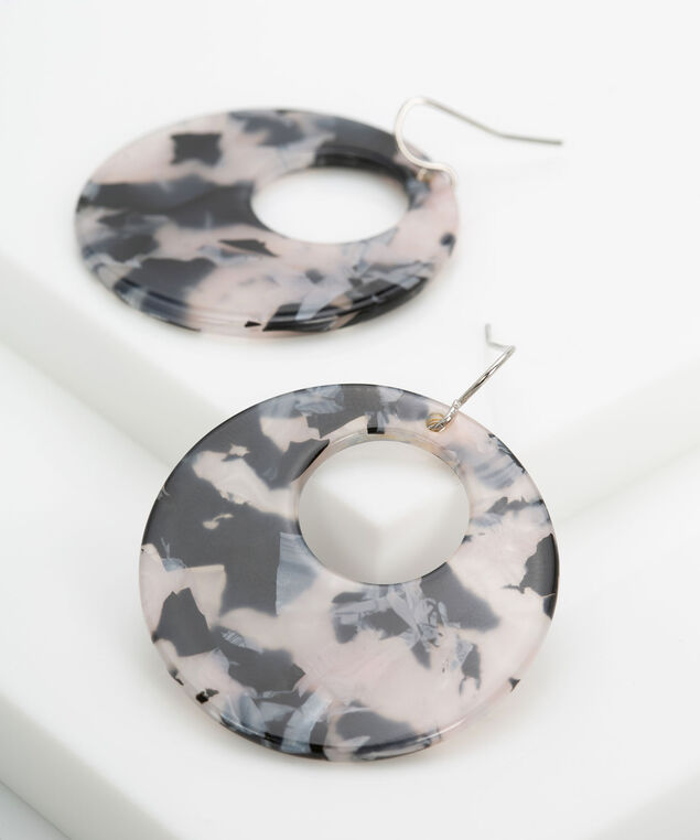 Resin Cutout Disc Earring, Black/Dusty Blush, hi-res