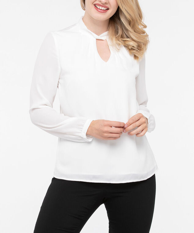 Long Sleeve Twisted Keyhole Blouse, Pearl, hi-res