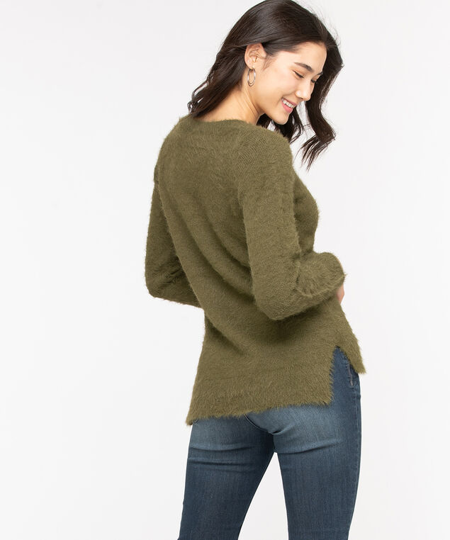 V-Neck Feather Yarn Pullover, Olive Night, hi-res